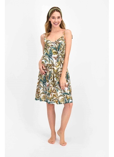 Arnetta Floral Pattern Krem Kadın Elbise Krem